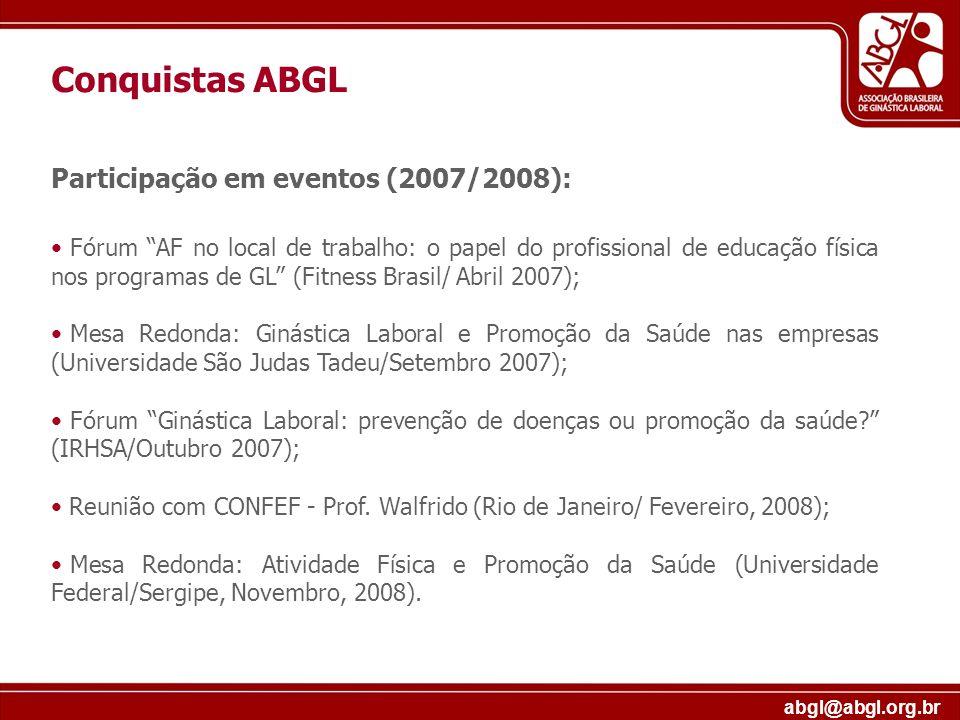 Conquistas ABGL Participação em eventos (2007/2008):