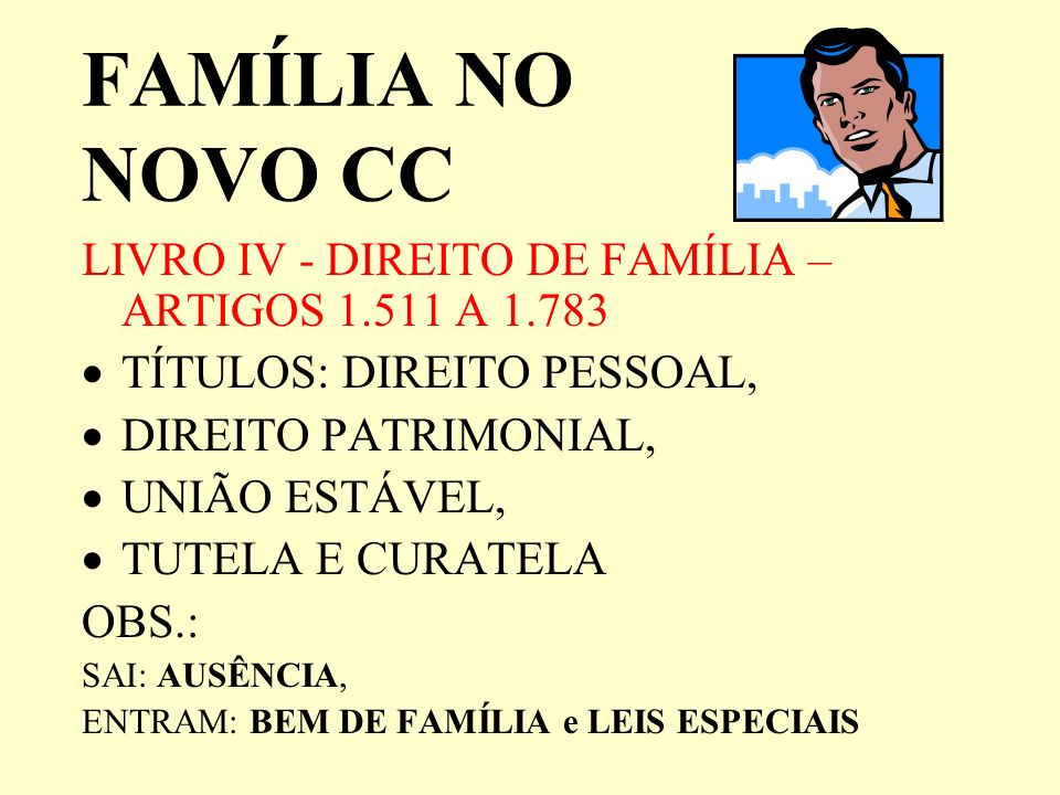 FAMÍLIA NO NOVO CC LIVRO IV - DIREITO DE FAMÍLIA – ARTIGOS 1.511 A 1.783. TÍTULOS: DIREITO PESSOAL,