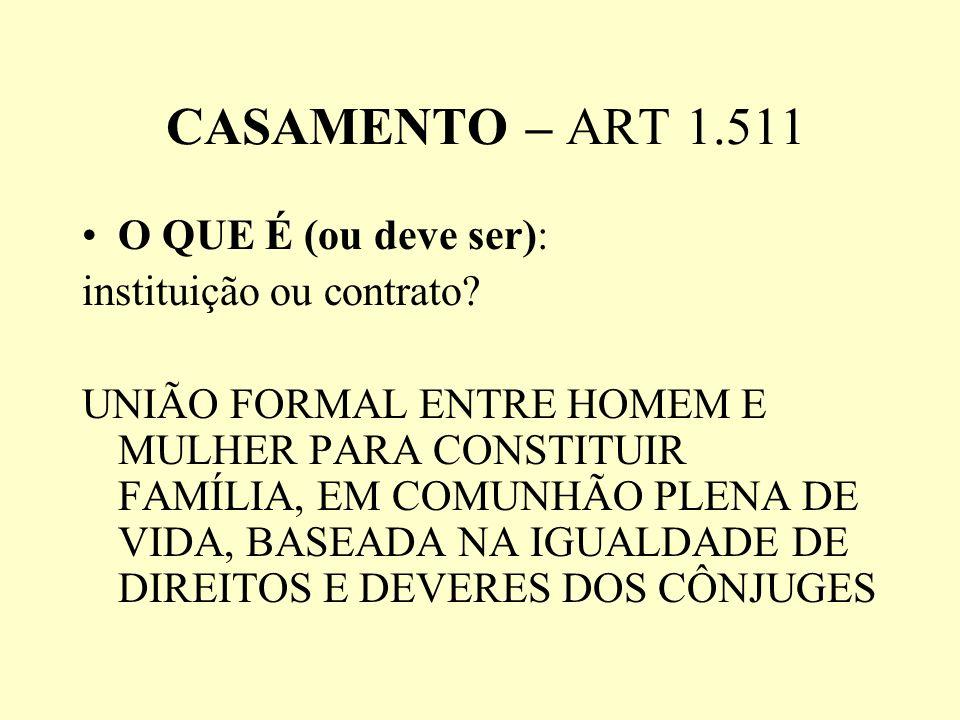 CASAMENTO – ART 1.511 O QUE É (ou deve ser): instituição ou contrato