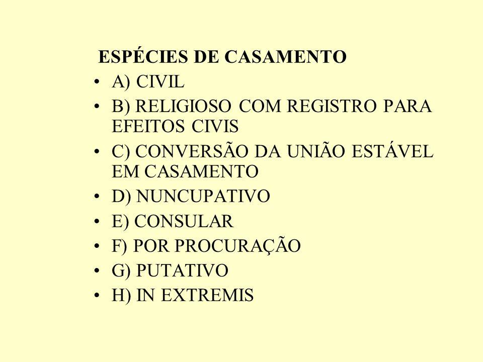 ESPÉCIES DE CASAMENTO A) CIVIL. B) RELIGIOSO COM REGISTRO PARA EFEITOS CIVIS. C) CONVERSÃO DA UNIÃO ESTÁVEL EM CASAMENTO.