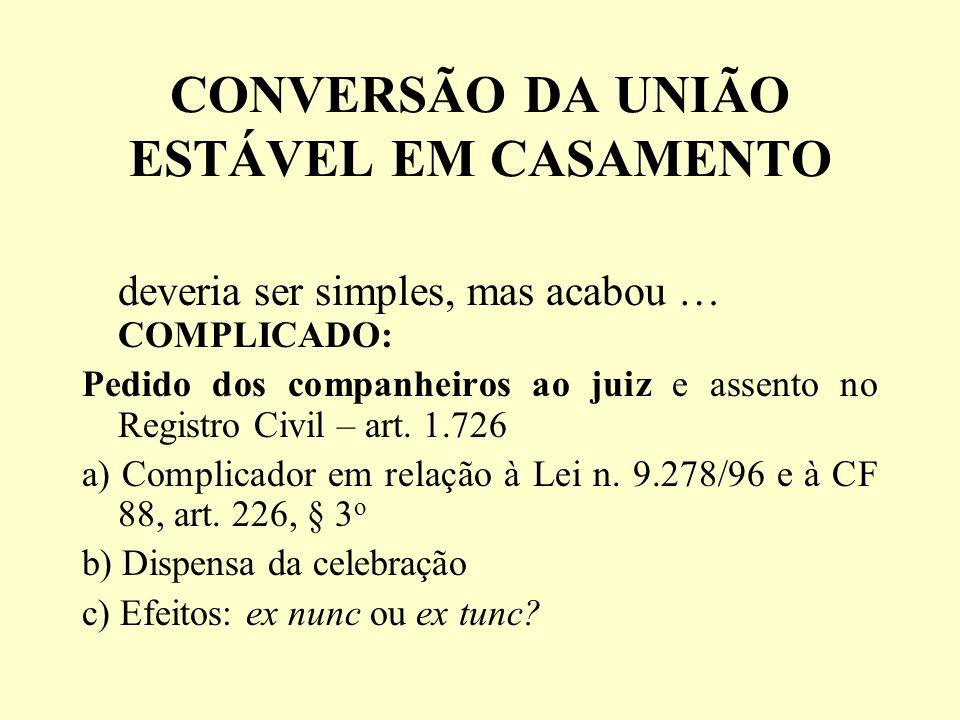CONVERSÃO DA UNIÃO ESTÁVEL EM CASAMENTO