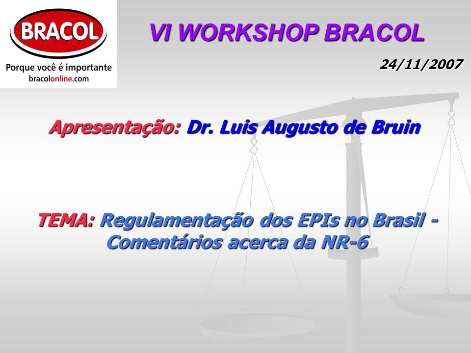 TEMA: Regulamentação dos EPIs no Brasil - Comentários acerca da NR-6