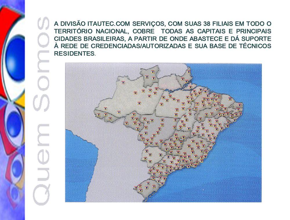 A DIVISÃO ITAUTEC.COM SERVIÇOS, COM SUAS 38 FILIAIS EM TODO O TERRITÓRIO NACIONAL, COBRE TODAS AS CAPITAIS E PRINCIPAIS CIDADES BRASILEIRAS, A PARTIR DE ONDE ABASTECE E DÁ SUPORTE À REDE DE CREDENCIADAS/AUTORIZADAS E SUA BASE DE TÉCNICOS RESIDENTES.