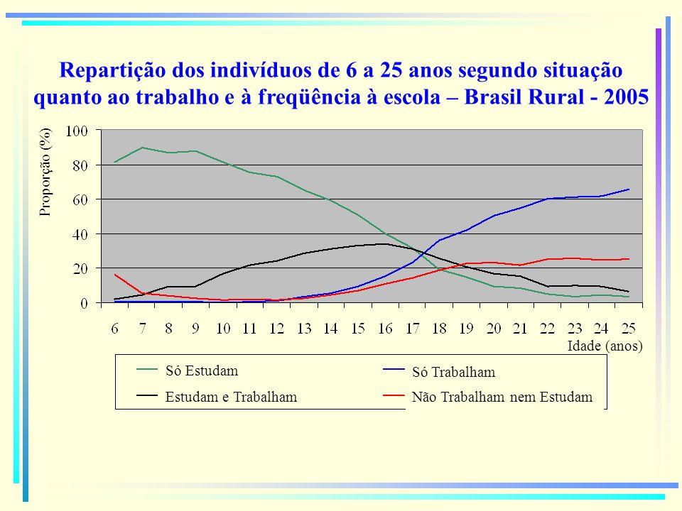 Repartição dos indivíduos de 6 a 25 anos segundo situação quanto ao trabalho e à freqüência à escola – Brasil Rural - 2005