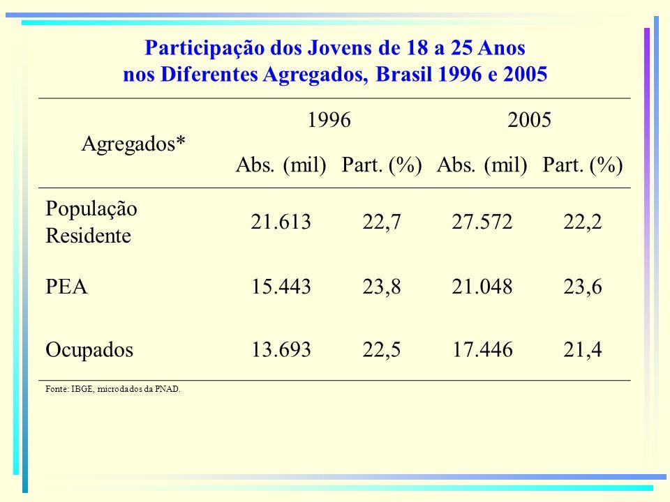 Participação dos Jovens de 18 a 25 Anos nos Diferentes Agregados, Brasil 1996 e 2005
