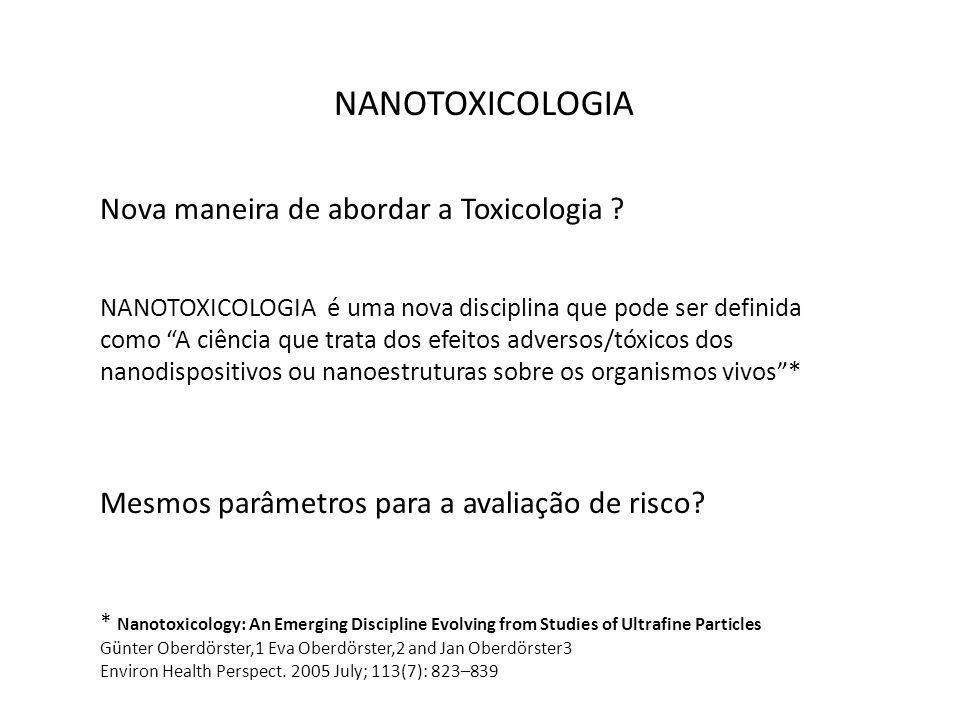 NANOTOXICOLOGIA Nova maneira de abordar a Toxicologia