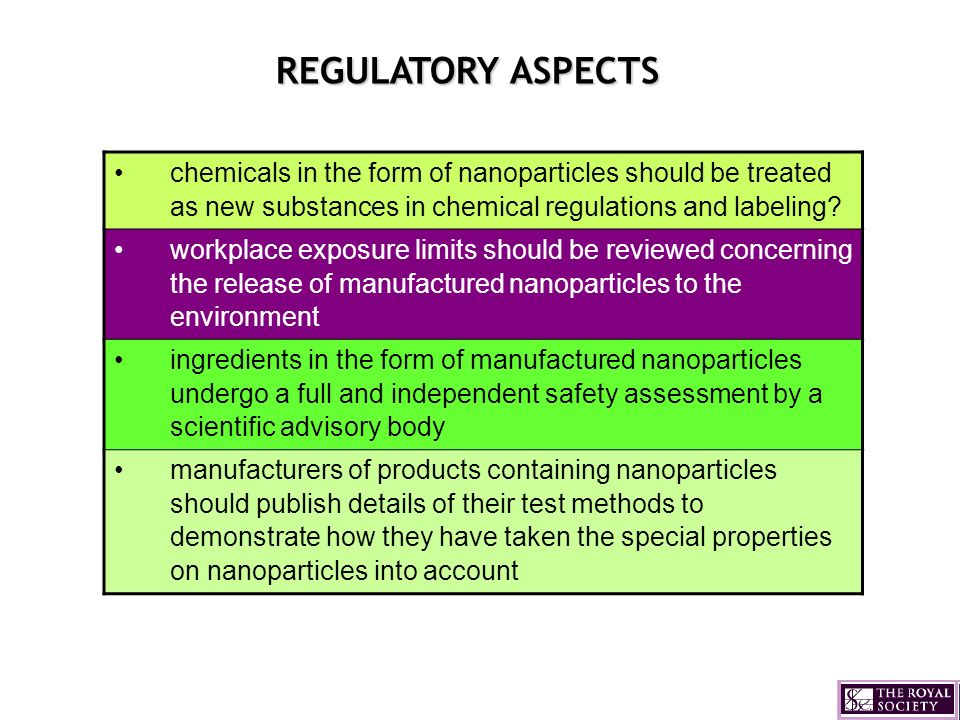 REGULATORY ASPECTS chemicals in the form of nanoparticles should be treated as new substances in chemical regulations and labeling