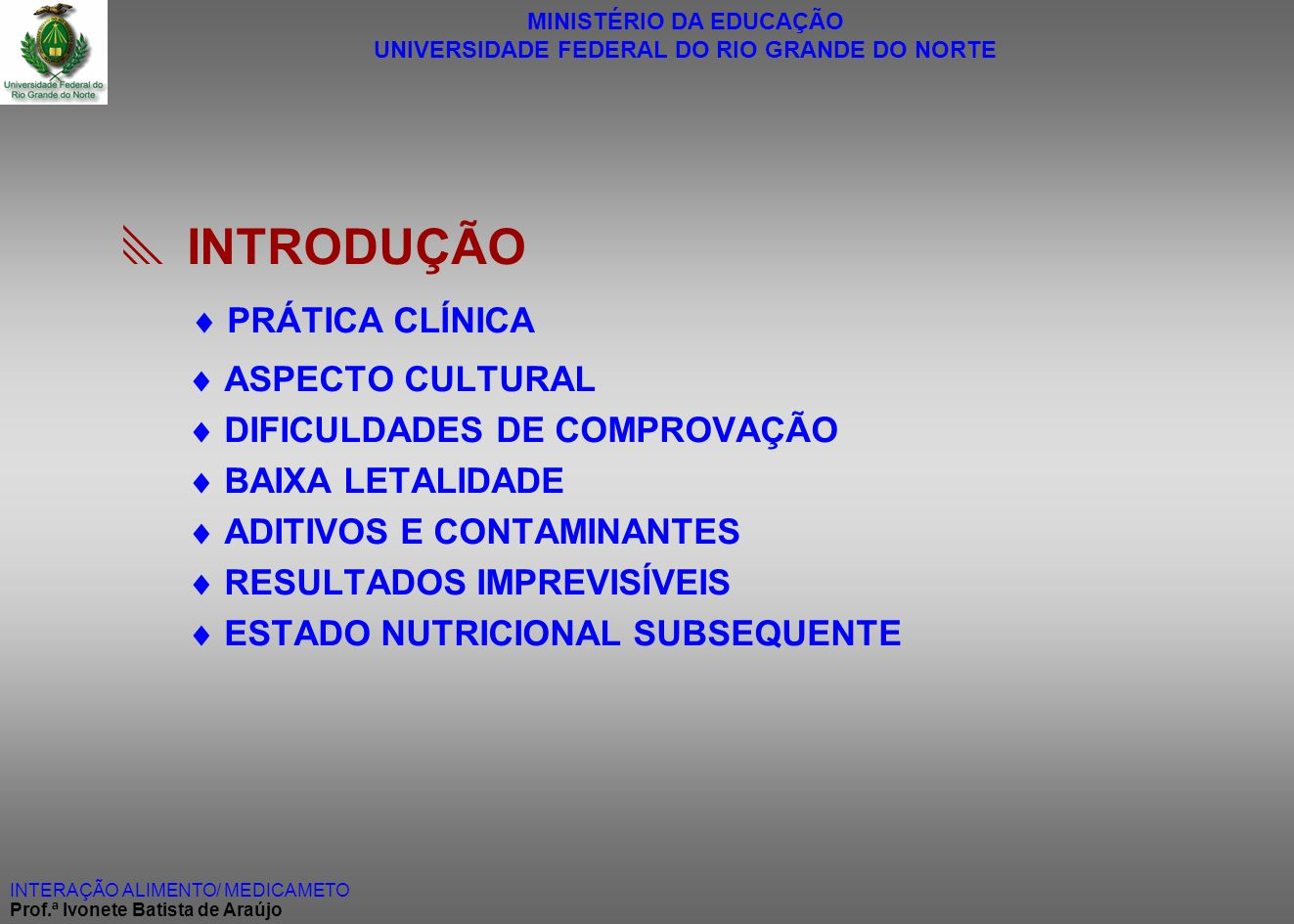  INTRODUÇÃO  PRÁTICA CLÍNICA  ASPECTO CULTURAL