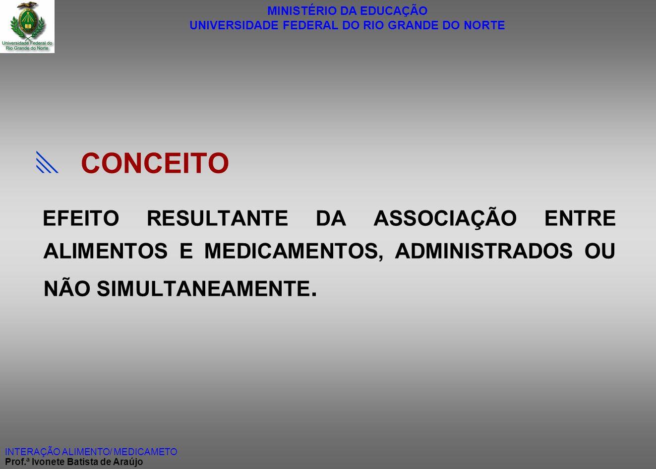  CONCEITO EFEITO RESULTANTE DA ASSOCIAÇÃO ENTRE ALIMENTOS E MEDICAMENTOS, ADMINISTRADOS OU NÃO SIMULTANEAMENTE.