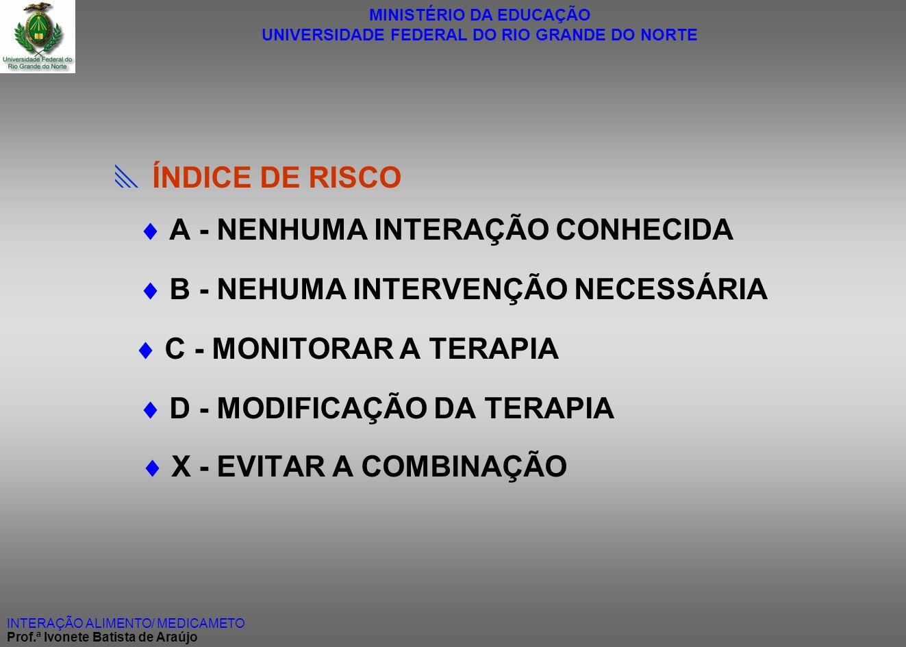 A - NENHUMA INTERAÇÃO CONHECIDA  B - NEHUMA INTERVENÇÃO NECESSÁRIA