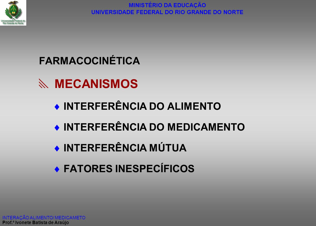  MECANISMOS FARMACOCINÉTICA  INTERFERÊNCIA DO ALIMENTO