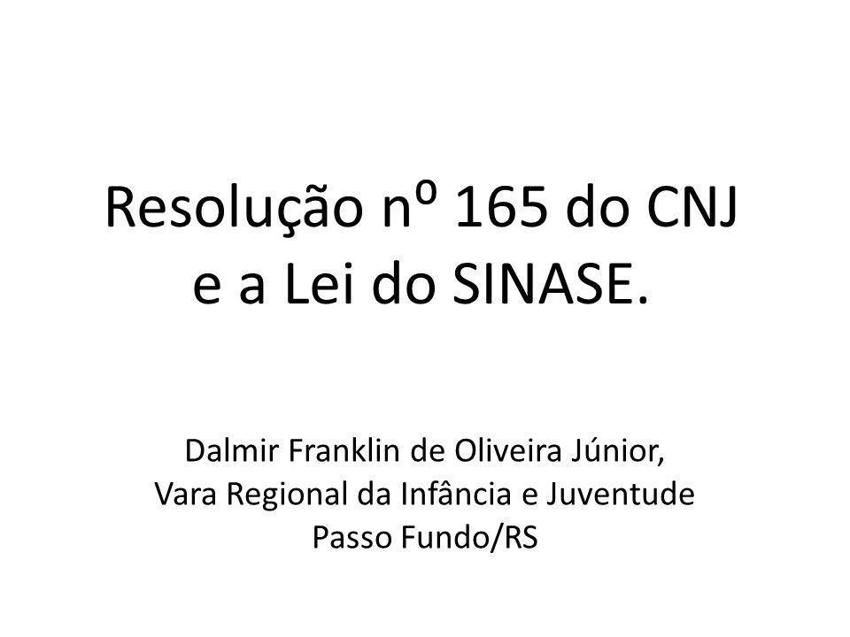 Resolução n⁰ 165 do CNJ e a Lei do SINASE.