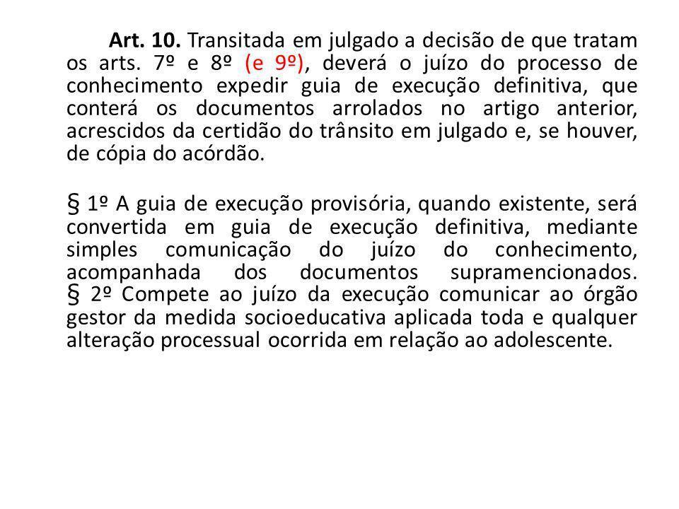 Art. 10. Transitada em julgado a decisão de que tratam os arts