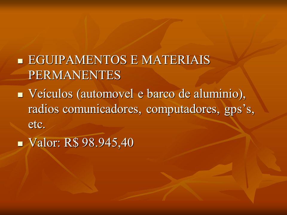 EGUIPAMENTOS E MATERIAIS PERMANENTES