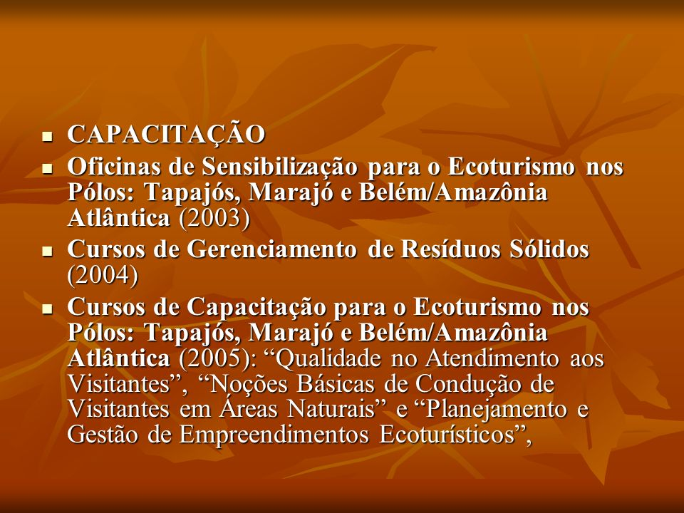 CAPACITAÇÃOOficinas de Sensibilização para o Ecoturismo nos Pólos: Tapajós, Marajó e Belém/Amazônia Atlântica (2003)
