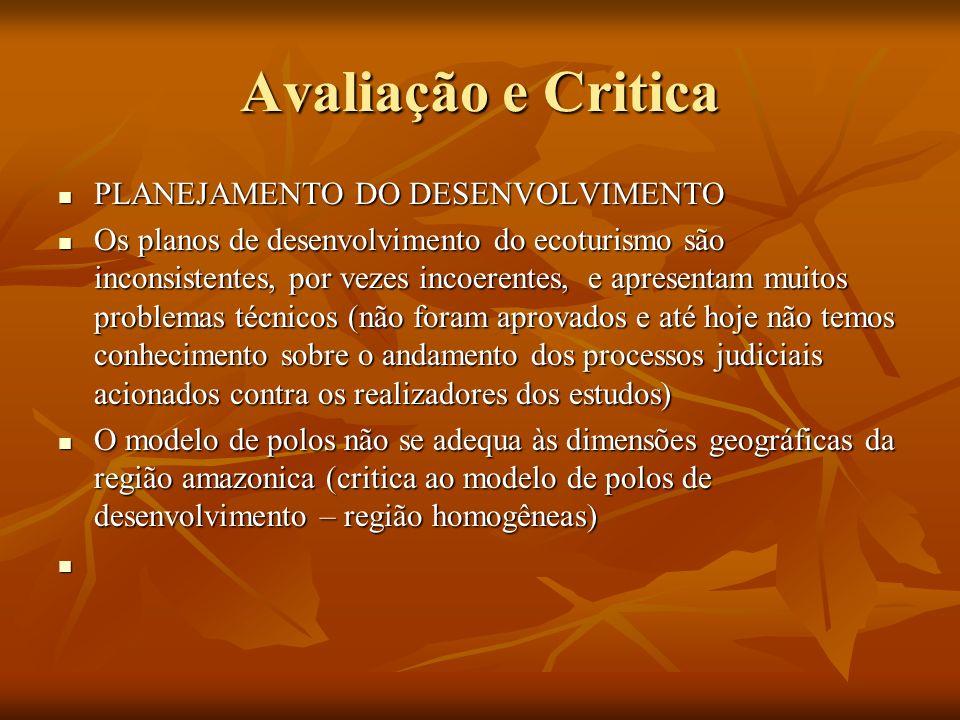 Avaliação e Critica PLANEJAMENTO DO DESENVOLVIMENTO