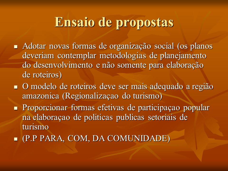 Ensaio de propostas