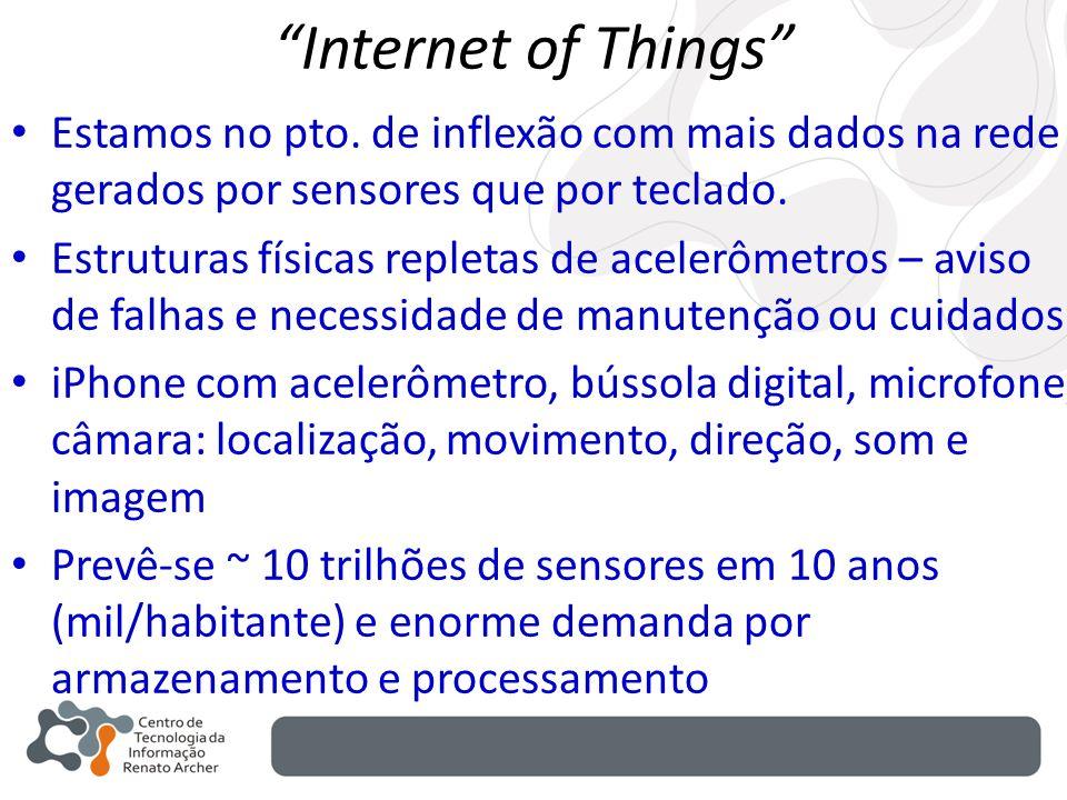 Internet of Things Estamos no pto. de inflexão com mais dados na rede gerados por sensores que por teclado.