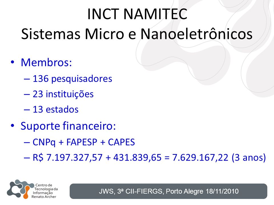 INCT NAMITEC Sistemas Micro e Nanoeletrônicos