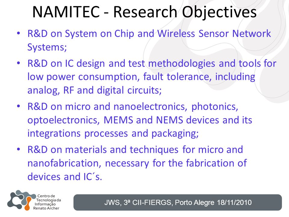 NAMITEC - Research Objectives