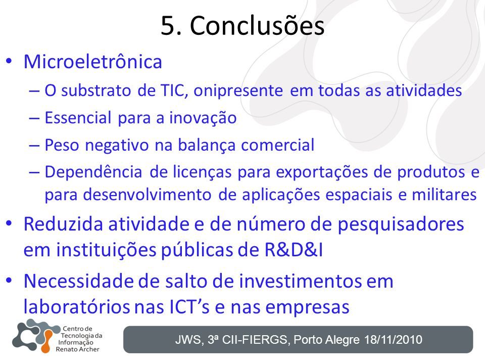 5. Conclusões Microeletrônica