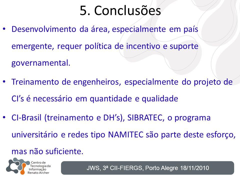 5. Conclusões Desenvolvimento da área, especialmente em país emergente, requer política de incentivo e suporte governamental.