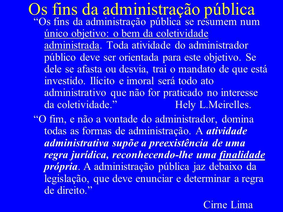 Os fins da administração pública
