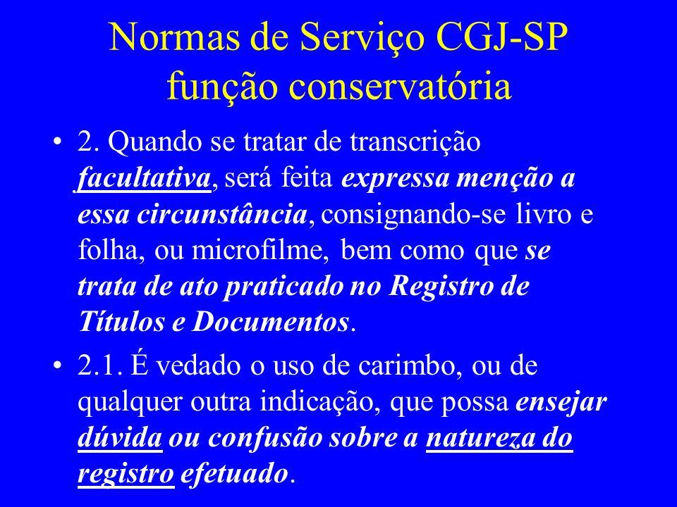 Normas de Serviço CGJ-SP função conservatória