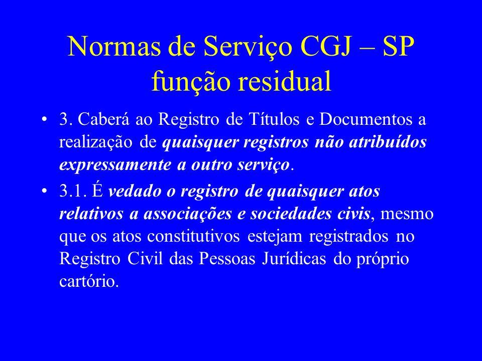 Normas de Serviço CGJ – SP função residual