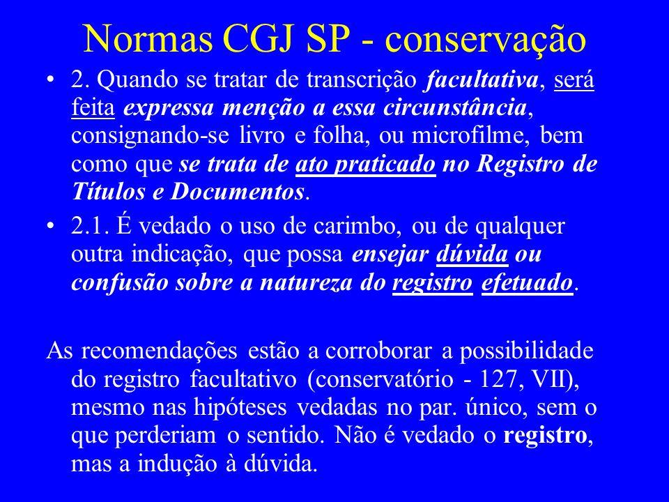 Normas CGJ SP - conservação
