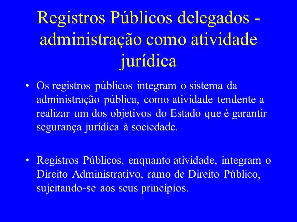 Registros Públicos delegados -administração como atividade jurídica
