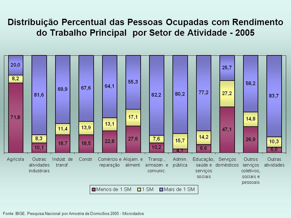 Distribuição Percentual das Pessoas Ocupadas com Rendimento do Trabalho Principal por Setor de Atividade - 2005