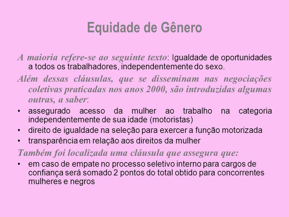 Equidade de Gênero A maioria refere-se ao seguinte texto: Igualdade de oportunidades a todos os trabalhadores, independentemente do sexo.