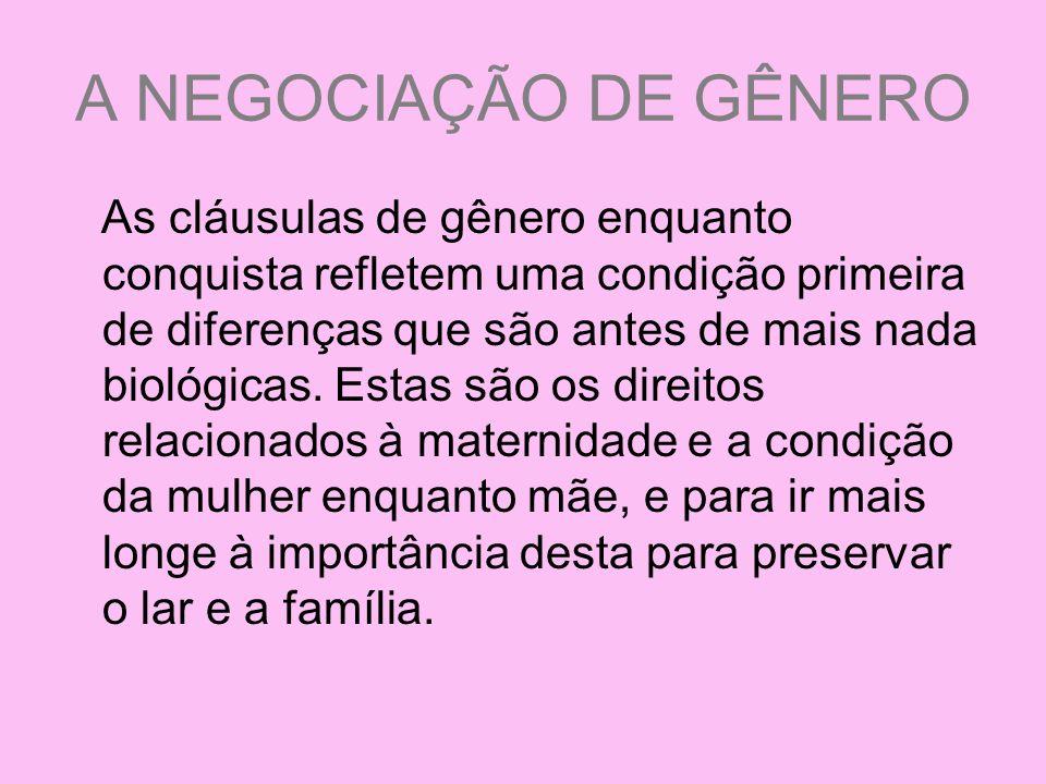 A NEGOCIAÇÃO DE GÊNERO