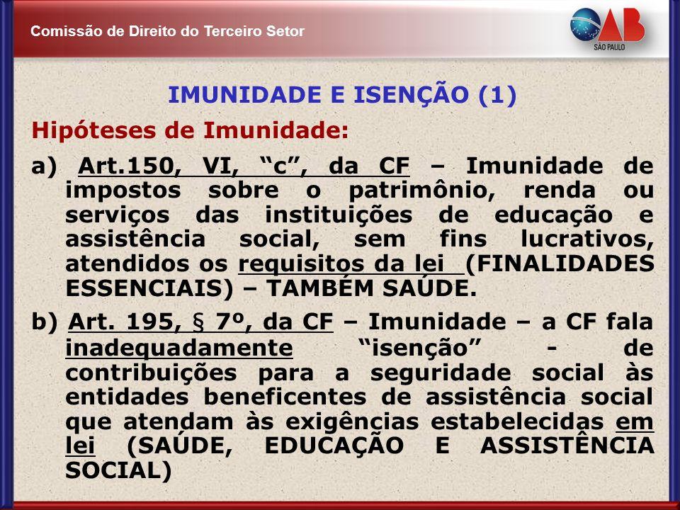 IMUNIDADE E ISENÇÃO (1) Hipóteses de Imunidade: