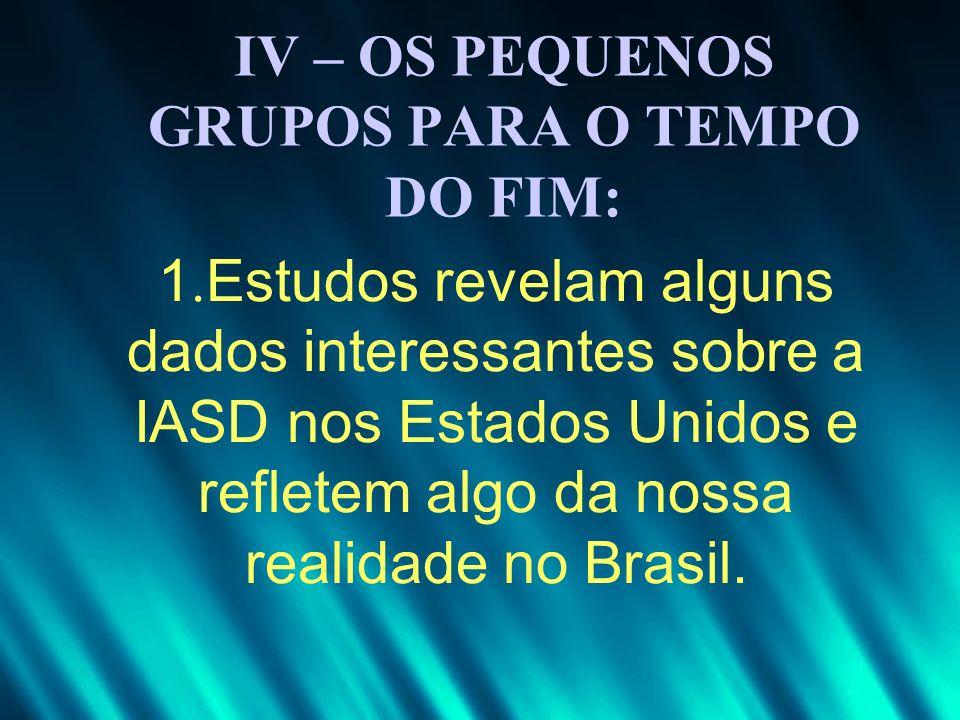 IV – OS PEQUENOS GRUPOS PARA O TEMPO DO FIM: