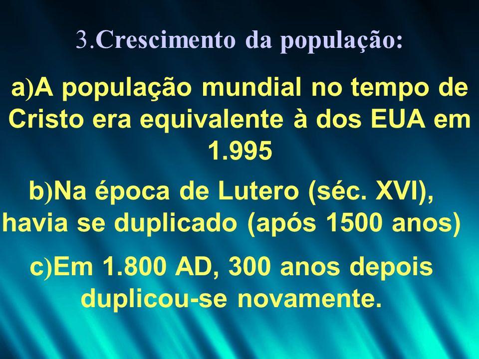 3.Crescimento da população: