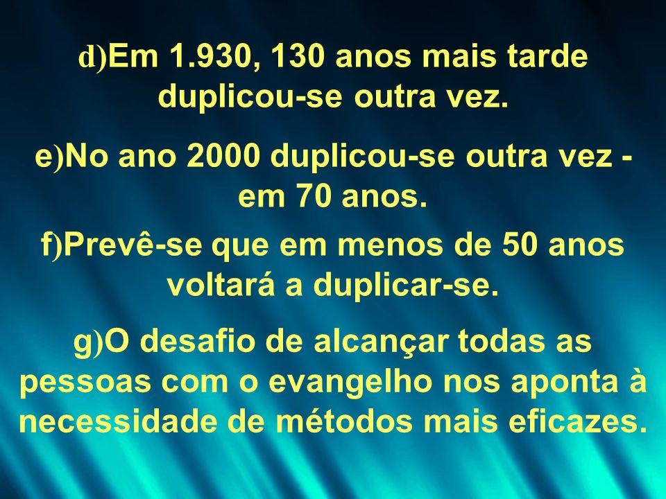 d)Em 1.930, 130 anos mais tarde duplicou-se outra vez.