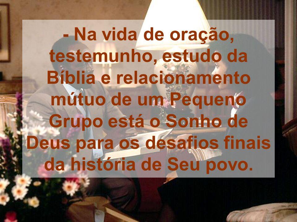 - Na vida de oração, testemunho, estudo da Bíblia e relacionamento mútuo de um Pequeno Grupo está o Sonho de Deus para os desafios finais da história de Seu povo.