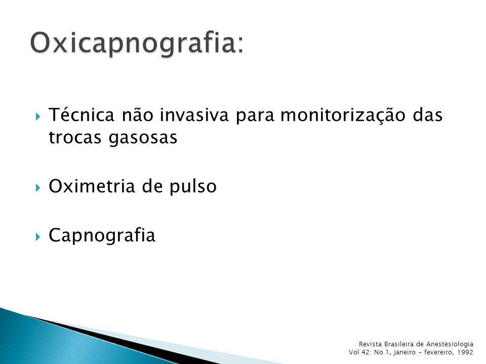 Oxicapnografia: Técnica não invasiva para monitorização das trocas gasosas. Oximetria de pulso. Capnografia.