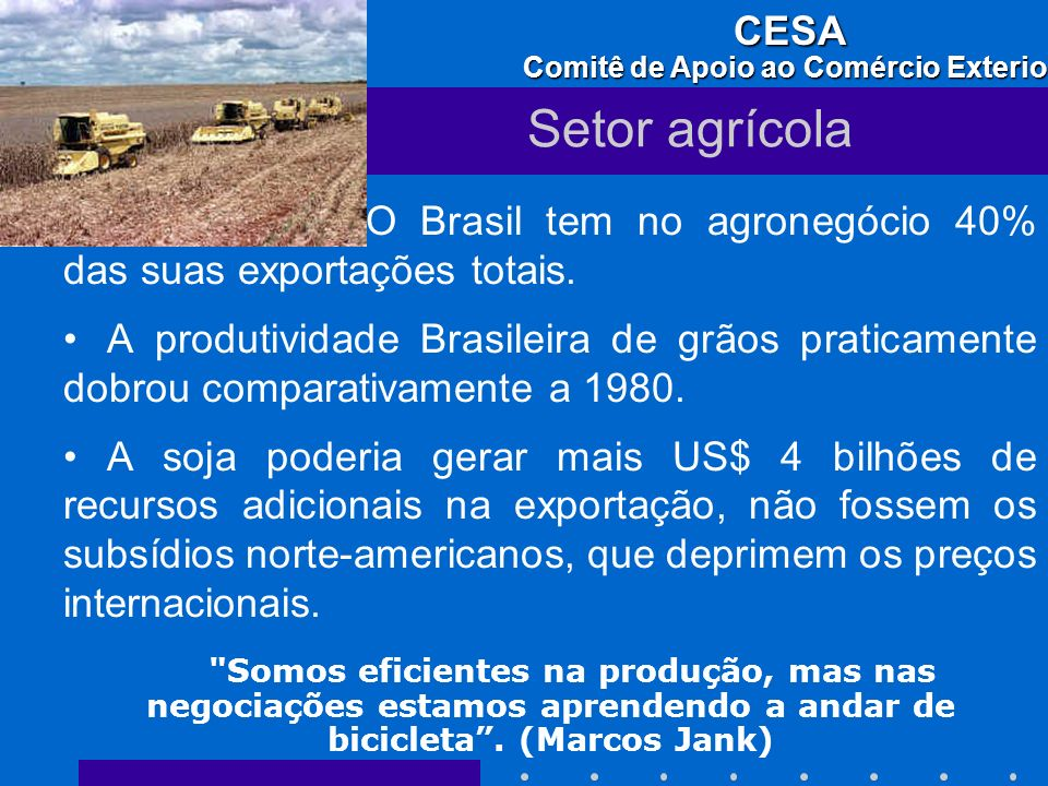 Setor agrícola O Brasil tem no agronegócio 40% das suas exportações totais.