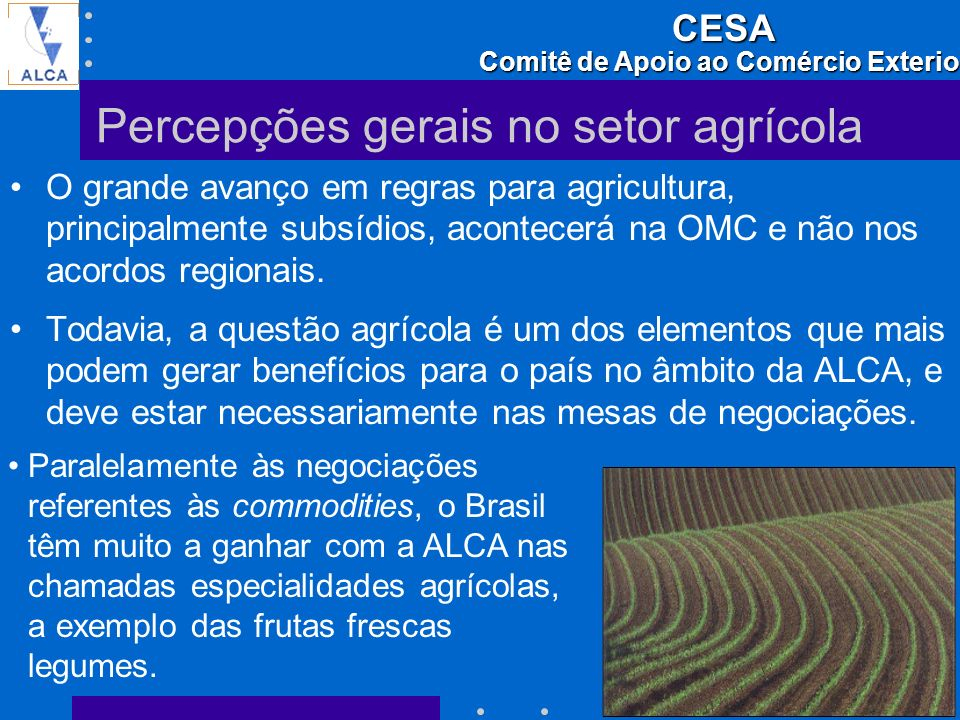 Percepções gerais no setor agrícola