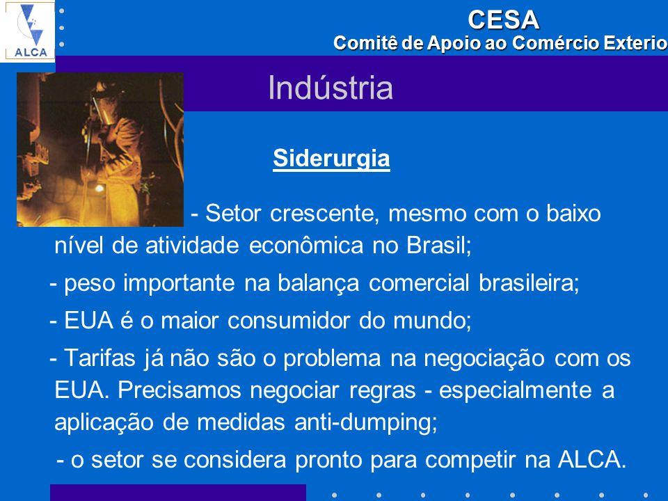 Indústria Siderurgia. - Setor crescente, mesmo com o baixo nível de atividade econômica no Brasil;