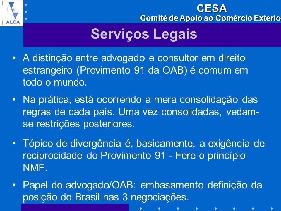 Serviços Legais A distinção entre advogado e consultor em direito estrangeiro (Provimento 91 da OAB) é comum em todo o mundo.