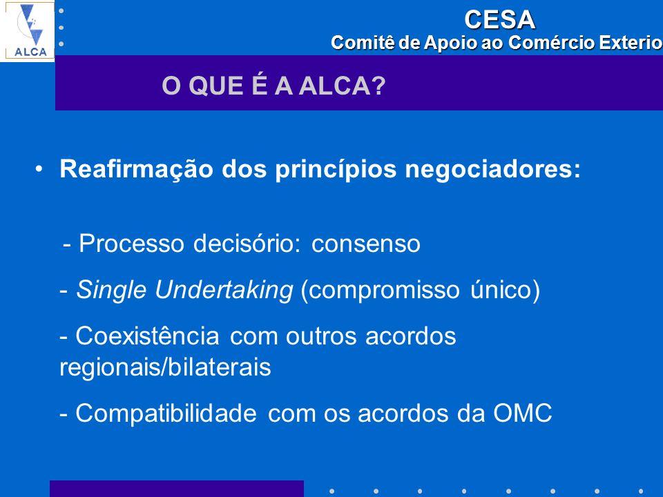 O QUE É A ALCA Reafirmação dos princípios negociadores: - Processo decisório: consenso. - Single Undertaking (compromisso único)