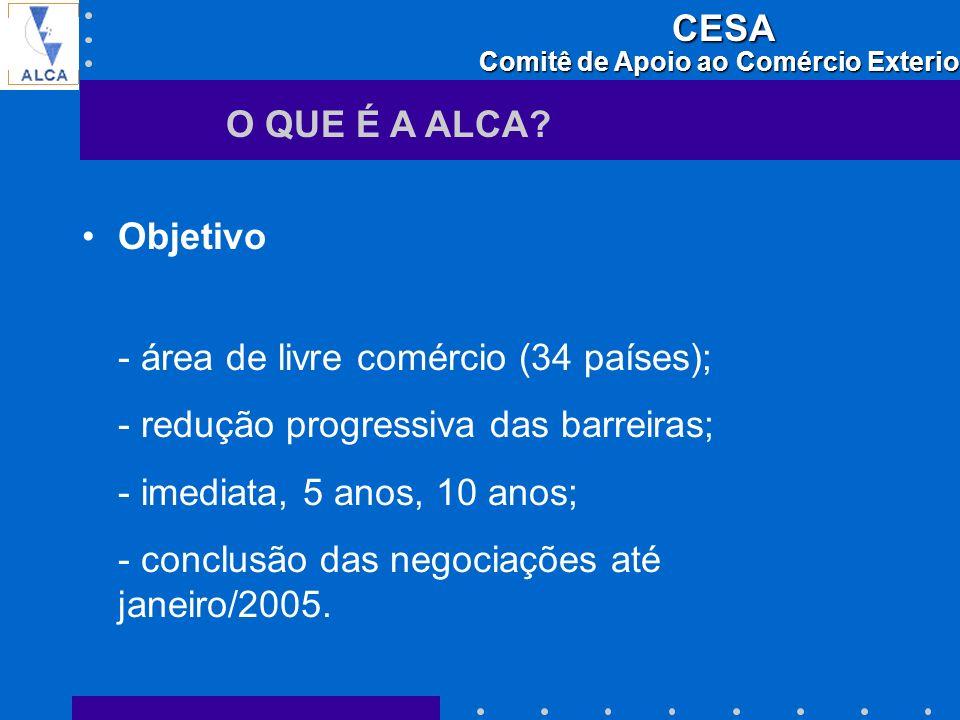 O QUE É A ALCA Objetivo. - área de livre comércio (34 países); - redução progressiva das barreiras;
