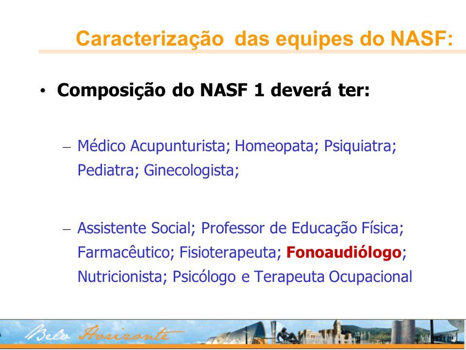 Caracterização das equipes do NASF: