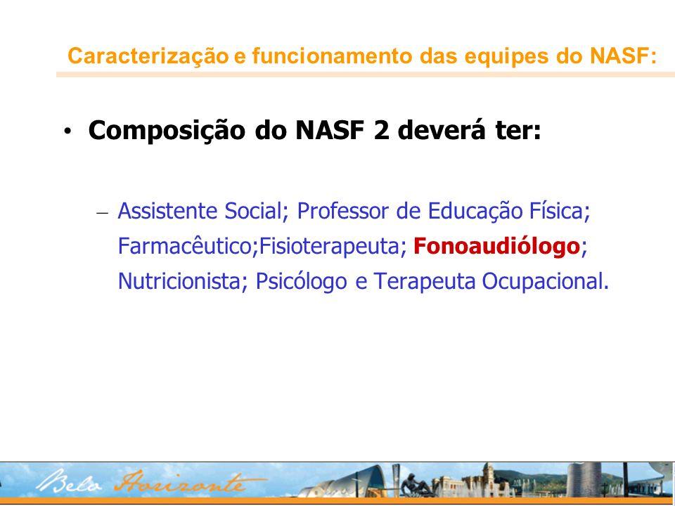 Caracterização e funcionamento das equipes do NASF: