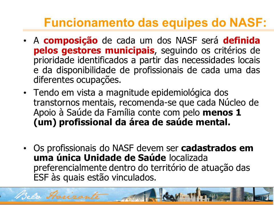 Funcionamento das equipes do NASF: