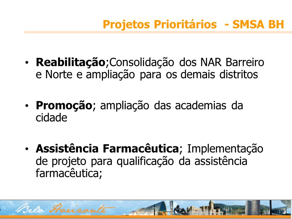 Projetos Prioritários - SMSA BH